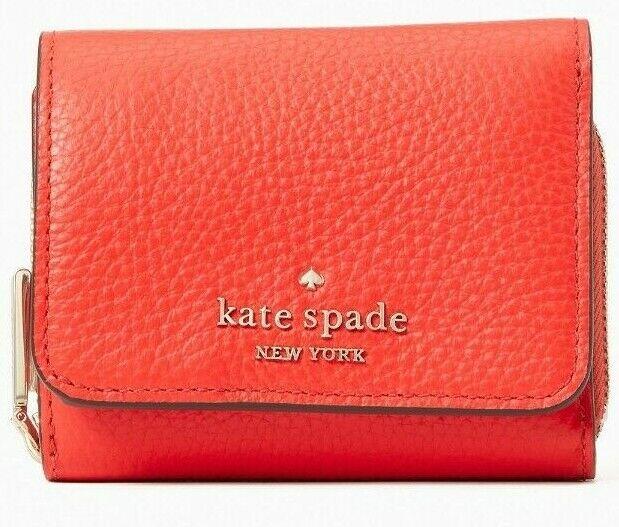 * TEST Leila SM Trifold Continental Wallet Orange Leather WLR00399 FS