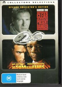 CLEAR-amp-PRESENT-DANGER-THE-SUM-OF-ALL-FEARS-2-FILMS-2-DVD-SET-R4-LIKE-NEW