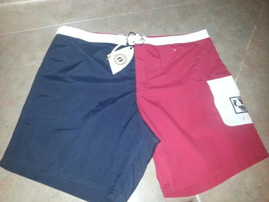 Men's HANG TEN gold Calobre Board Shorts Navy Red White Size 38