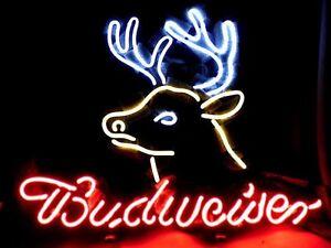 """17""""x14"""" Budweiser Bud Light Ice Miller Deer Neon Light Sign Beer Bar Pub Lamp"""