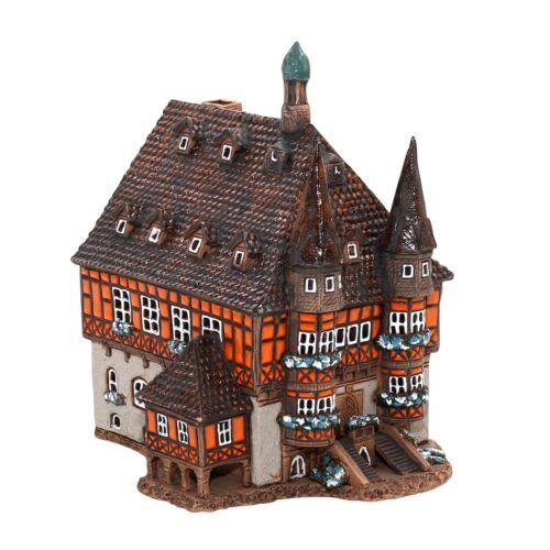 Keramik Teelichthaus Lichterhaus Teelichthalter Rathaus Wernigerode 22 cm 40544