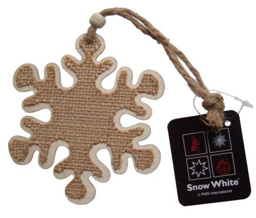 Arbre de noël flocon de neige décoration en bois ornement suspendu de hesse 11cm across