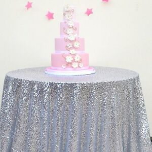 """2016 New 72"""" Silver Round Sparkly Sequin Tablecloth for Wedding/Event/Party"""