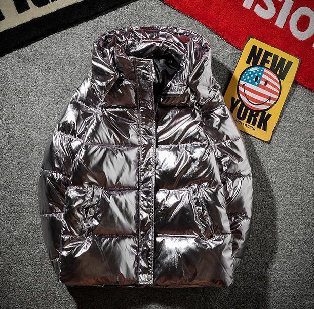 Chaqueta de Abrigo de invierno  gruesas de plata brillante hacia abajo Algodón Caliente Para Hombre Acolchada Puffer abrigos  Envío y cambio gratis.