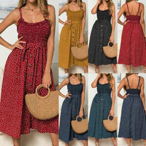Women-Summer-Sleeveless-Polka-Dot-Beach-Dress-Ladies-Stretch-Holiday-Sundress-034