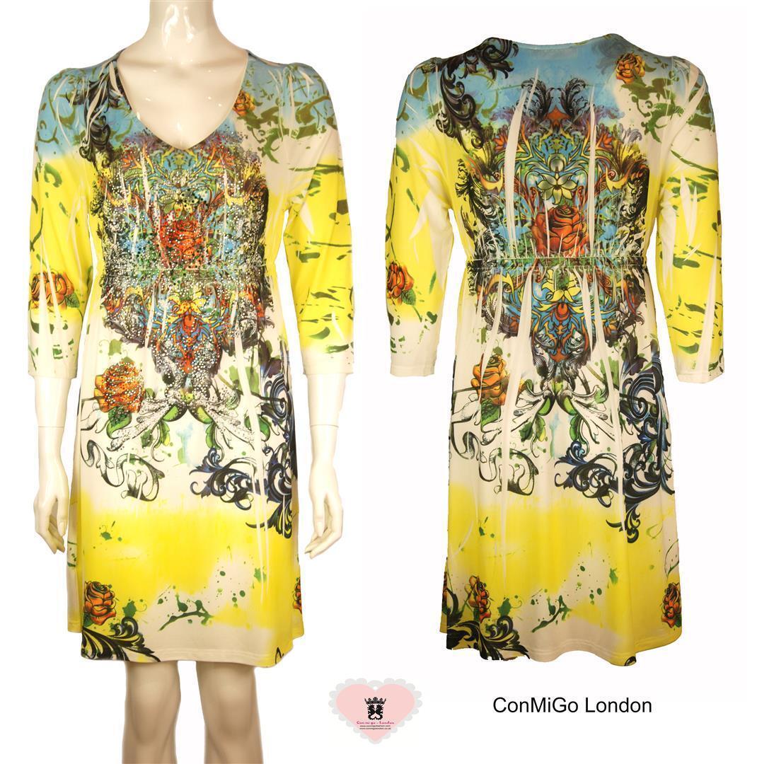 Con Mi Go London V2 Färgfulla paljetter inbäddade Flora Print Jersey Klänning - Yel