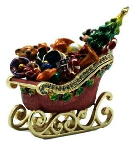 Christmas-Sleigh-w-Gifts-Trinket-Box-Approx-6-5cm-High-Great-Xmas-Gift