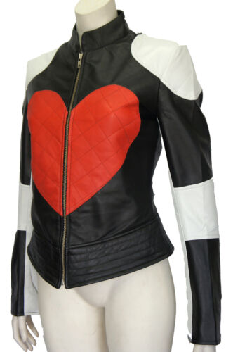 Kylie Ladies Red Heart Time bomb Biker Motorcycle Style Designer Leather Jacket