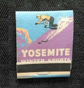 "1930s ""YOSEMITE WINTER SPORTS"" National Park Service Snow Skiing Matchbook MINTY"