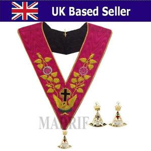 masonic regalia-ROSE CROIX 18TH DEGREE EMBROIDERED COLLAR COLLAR JEWEL+GLOVES