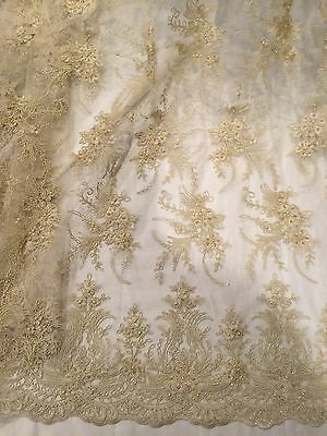"GOLD MESH W/CORDED EMBROIDERY BEADS & SEQUINS BRIDAL LACE FABRIC 52"" WIDE 1 YD"
