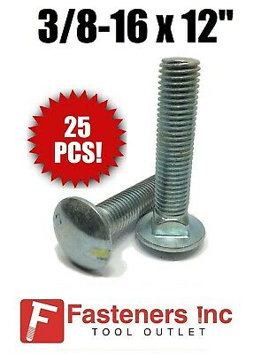 "6/"" of Thread QTY 80 3//8-16 x 12/"" Carriage Bolt Zinc Plated A307 Bulk Box"