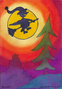 Postkarte-Kunstdruck-Loys-Lettink-signiert-034-Halloween-034-Art-Brut
