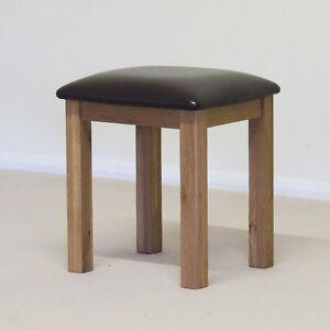 Roseland Oak Tabouret//Table de Maquillage Tabouret//en chêne massif avec Cuir Synthétique Siège Pad