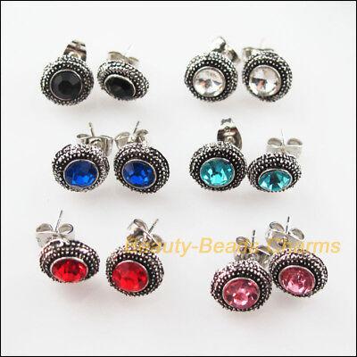 12pcs USA Charm Tibetan Silver Bead Finding Jewellery Making 10x15mm