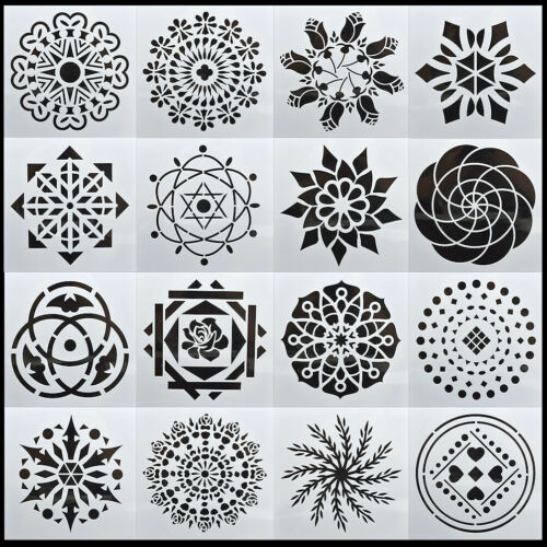 16PCS Mandala Dotting Schablone Schablone Malerei Layering Scrapbooking DIY