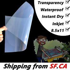 85x11 Waterproof Inkjet Printer Silk Screen Printing Transparency Film 50 Pcs