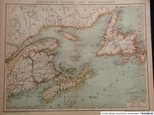 Landkarte östliches Kanada und Neufundland, 1895, Brockhaus 14.Aufl.