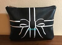 Saks Fifth Ave Cosmetic Bag Faux Leather Black 2015 Event