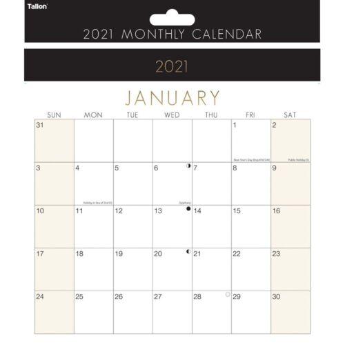 2021 Mensual Medio Cuadrado Calendario Premium Pared Vista Mensual Agenda 3955