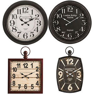 Extra-Large-Huge-Iron-London-Wall-Clocks-Antique-Round-Square-Metal-Shabby-Chic