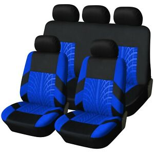 Trax-Blue-and-Black-Luxury-Fabric-Deluxe-Car-Seat-Covers-Protectors-Full-Set