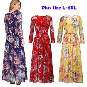 Plus size L-6XL Vintage Women Floral Long Slev Party Cocktail Evening Maxi Dress