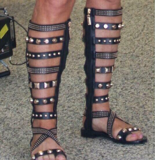 Sexy donna Leather Open Toe Stud Rievt Roman Sandal stivali Flats Gladiator scarpe