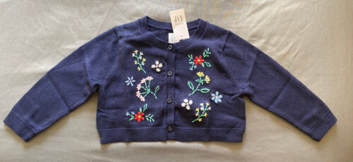 Baby Girl 12-18 Month Baby Gap Navy Floral Stitched Knit Button Up Cardigan