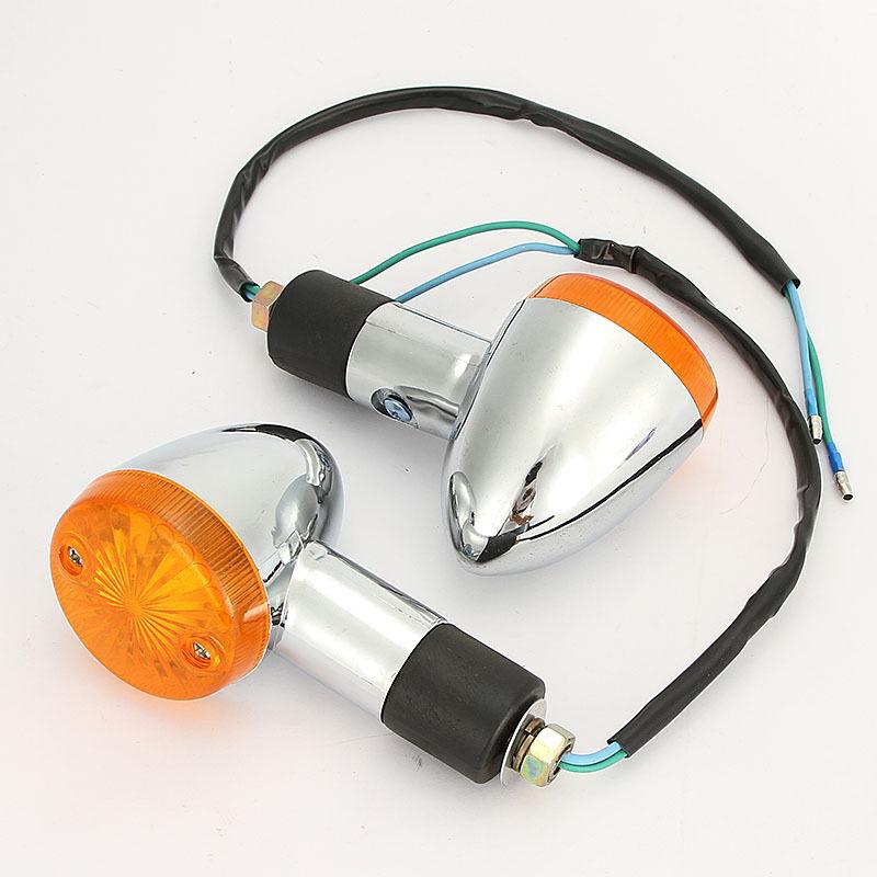 4x Chrome Amber Turn Signal Light For Kawasaki EN Vulcan 450 500 LTD