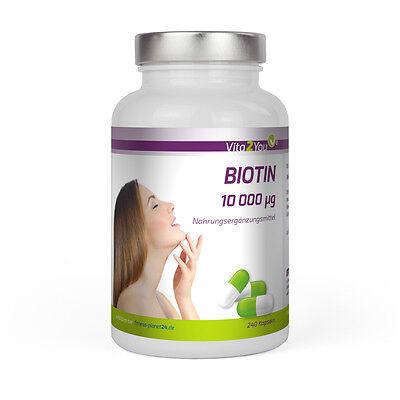 Vita2You Biotin 10.000µg (Vitamin B7) - 240 Kapseln - Für Haut, Haare und Nägel