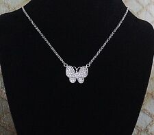 925 Sterling Silver Cubic Zirconia Butterfly Charm Chain Necklace for Ladies