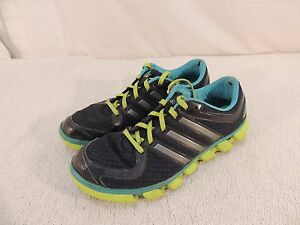 Adidas Running Shoes Women's 9.5 Non-Marking Soles Blue & Lime Green 50460