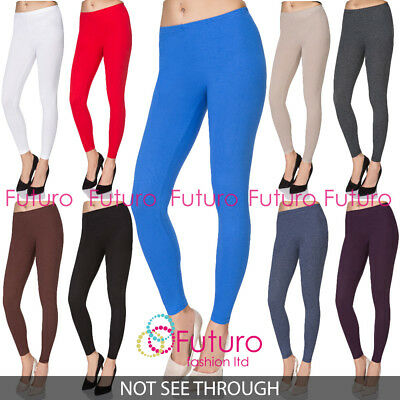 Aktiv Full Length Cotton Plain Leggings Womens Yoga Gym Pants Slim 8-28 Uk Plus Size QualitäTswaren