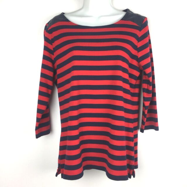 2adc6205 Tommy Hilfiger Women Stripe Blouse Faux Leather Detail 3/4 Sleeve Top Size L