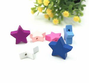 100X-Star-shape-Wood-Beads-Mix-Color-Spacer-Baby-Pacifier-Clip-Jewelry-Making