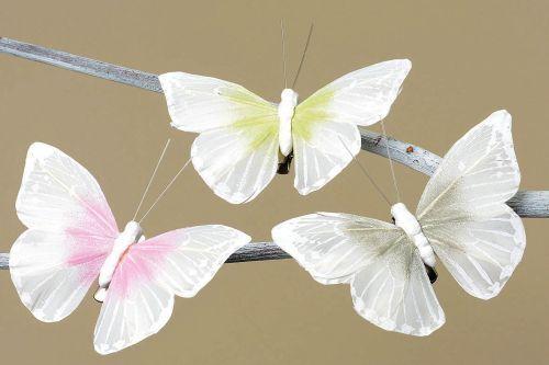 basteln Maße: 9x6cm Deko Schmetterling mit Clip weiß 3er Set dekorieren