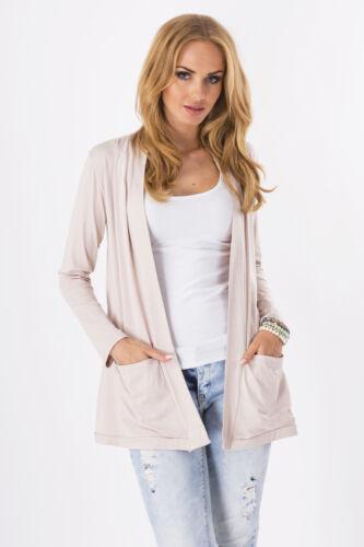 Women/'s Jacket With Pockets Long Sleeve Blazer Cardigan Coat Sizes 8-18 8546