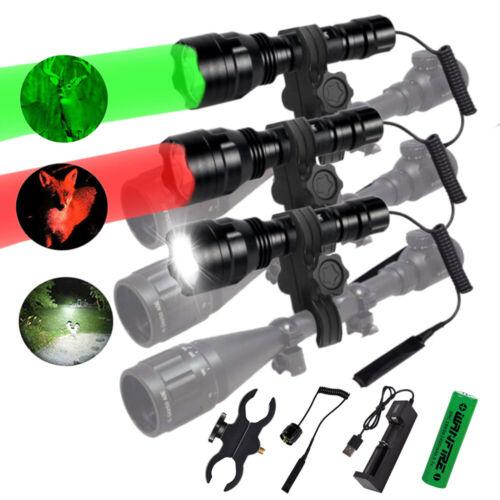Tactical 350 Yards LED Flashlight Predator Varmint Hog Hunting Light Rifle Mount
