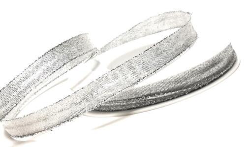 1m=0,20€ BROKATBAND 25m x 15mm SILBER Schleifenband Geschenkband DEKOBAND