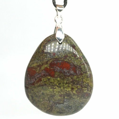 Stone Pendant Natural Gems Dragon Bloodstone Crystal Healing Necklace Jewelry