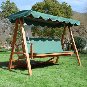 outsunny reclining hardwood patio swing chair garden hanging sleeping bed canopy. Black Bedroom Furniture Sets. Home Design Ideas
