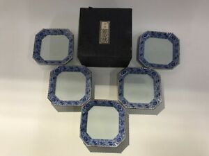 Japanese-Pottery-Dish-Plate-Vintage-5pc-Signed-Arita-Ware-Blue-Square-Z198