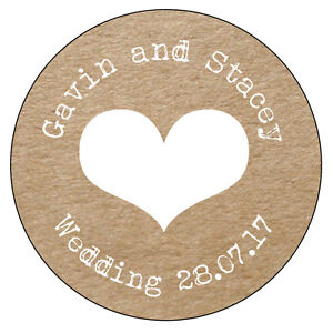 Real Kraft Personalised Stickers Circle 24 x 45mm Heart Wedding Engagment Love 4
