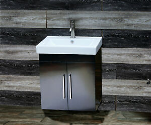 Details About 24 Bathroom Vanity Inch Cabinet Wall Mount Intergrated Sink Faucet W1 2418