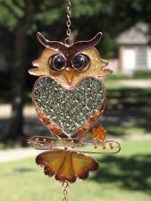 "25"" Glass Wise Wizard Owl Hoot Bird Wind Chimes Glitter Bead Yard Garden Decor"
