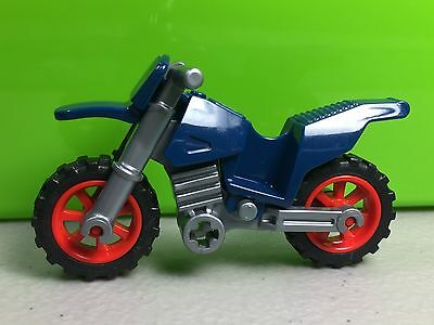 Motorcycle  NEW Dark Blue w// Red Rims Silver Chassis LEGO Dirt Bike City Town