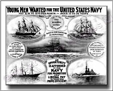 US Navy Recruiting Poster 1908 Canvas Print  Pre WWI 2D