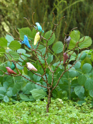Miniature Dollhouse FAIRY GARDEN ~ Mini Rustic Songbird Tree ~ NEW
