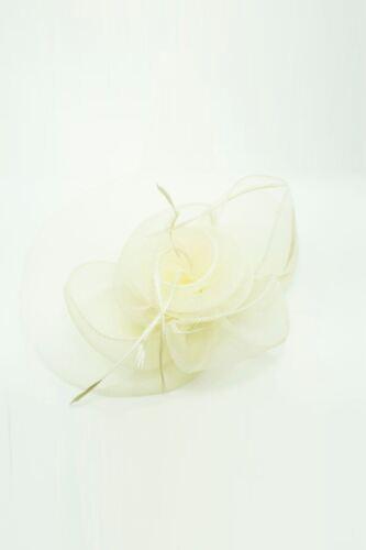 Large Flower Feather Hair Hat Fascinator Headband Clip Mesh Wedding Royal Ascot